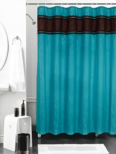 Faux Silk Shower Curtain With Ruffle Border Banner And Silver Ribbon Accents Turquoise Black Amazoncouk Kitchen Home
