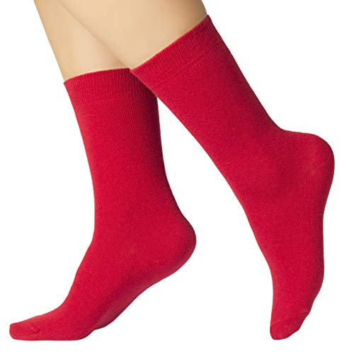 Ruby Slippers 4 Pairs Women's Eco Friendly Cotton Dress Socks / Crew Length / Business Casual (Red, 6-9)