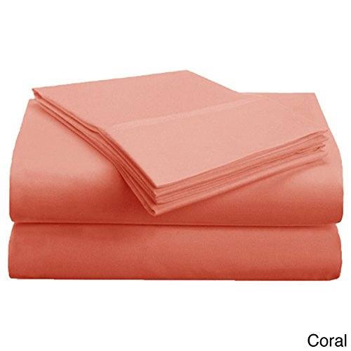 4 Piece King Coral Sheet Set, Casual & Traditional Style, Solid Color, Fully Elasticized Fitted Sheet, Solid Color, Microfiber, Sateen weave, Single-ply design, Machine Wash Sheet