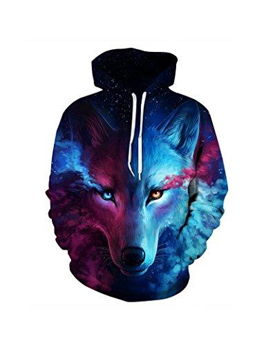 Unisex 3d Print Wolf Pullover Hoodie Hooded Sweatshirt