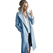 Hanican Winter Womens Long Coat Lapel Parka Jacket Woolen Cardigan Solid Overcoat Pockets Outerwear