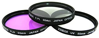 Zeikos 55mm Multi-Coated High Resolution 3-piece Glass Filter Set (UV, Fluorescent, Circular Polarizer) (B001KNDZHQ) | Amazon price tracker / tracking, Amazon price history charts, Amazon price watches, Amazon price drop alerts
