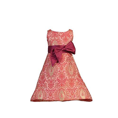 Angels Garment Baby Girls Red Dupioni Bow Pink Brocade Christmas Dress ()