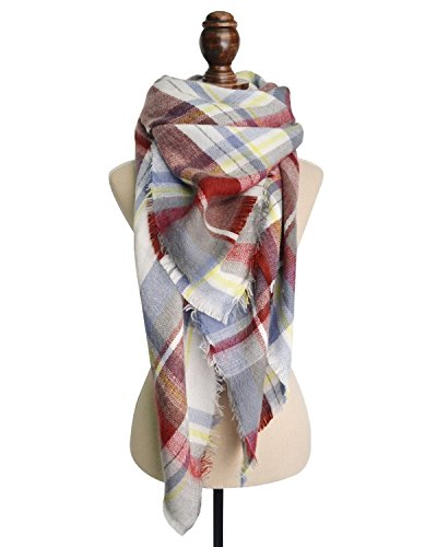 Spring Fever Winter Magnetic Knit Tartan Plaid Wrap Cashmere Feel Large Lightweight Scarf for Women A06