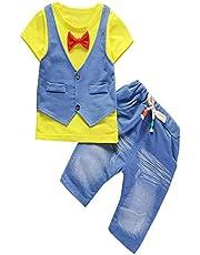 BHYDRY NiñIto Niños Bebé Chico Conjuntos Manga Corta Camiseta + Pantalones Caballero Ropa Trajes