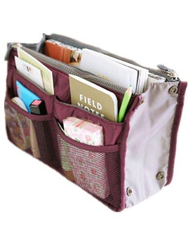 Women Travel Insert Handbag Organiser Purse Large liner Organizer Bag (Wine red) (5 Purse)
