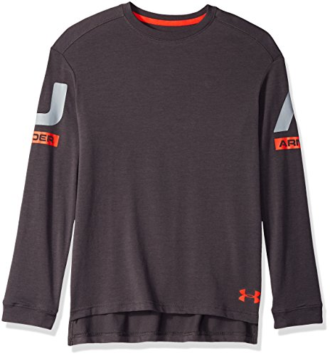 Under Armour Boys sportstyle Long sleeve Crew, Charcoal (019)/Radio Red, Youth Large
