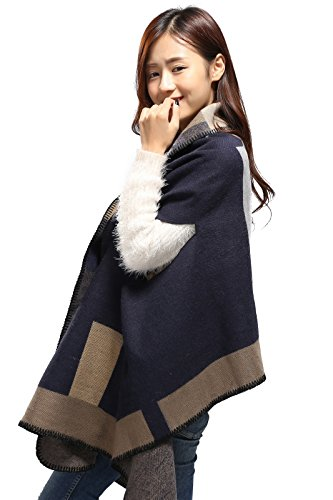 RuSong Womens Plaid Pattern Pashmina Wrap Shawl Infinity Scarf Poncho Cape Cardigans (Geometry / dark)