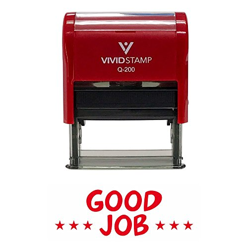 GOOD JOB Teachers Self-Inking Office Rubber Stamp (Red) - Medium