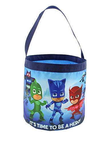 PJ Masks Boys Girls Collapsible Nylon Easter Basket Bucket Gift Tote Bag (One Size, Blue) -