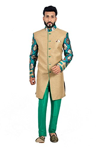 Natural Jute and Green Indian Wedding Indo-Western Sherwani for Men by Saris and Things
