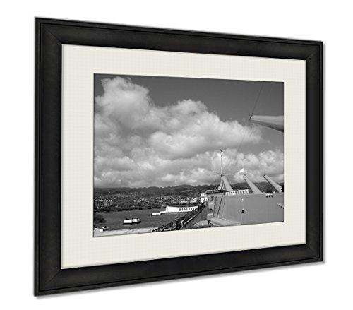 Ashley Framed Prints Uss Missouri, Wall Art Home Decoration, Black/White, 26x30 (frame size), AG6403711 by Ashley Framed Prints