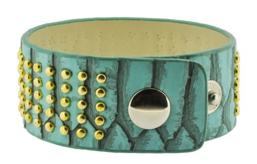 Turquoise Leather Metal Studs Layer Bracelet / Leather Bracelet/ Biker Bracelet, #507