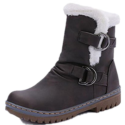 ddffb749b20c7 good Women's Winter Snow Heavy Thick Faux Fur Lining Warm Belt Buckle  Casual Fashion Cold Weather Ankle Snow Boots