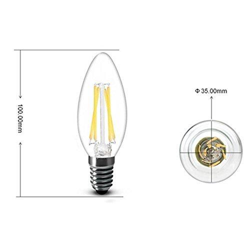ZHMA 5X E14 4W Bombilla Filamento LED, C35 Bombilla LED Vela,Incandescente Equivalente a 40W, 320 Lumen, Blanco Cálido 3000K: Amazon.es: Jardín