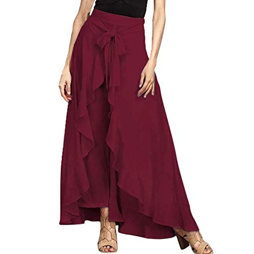 MTOFAGF Girls Summer Fashion Tie-Waist Lace-up Loose Ruffled Palazzo Trousers MTOFAGF Brings You The Best Color : Black, Size : L