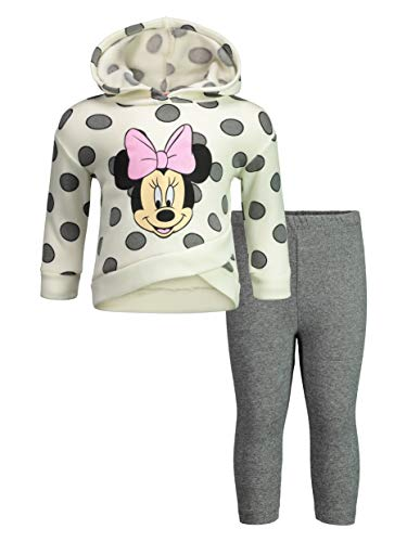 Disney Minnie Mouse Toddler Girls' 2-Piece Fleece Ruffle Hoodie & Legging Set, Off-White 5T ()