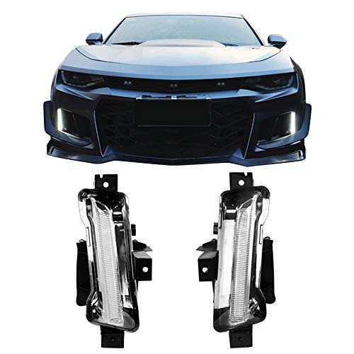Fog Lights Fits 2016-2019 Chevy Camaro   ZL1 DRL Daytime Running Light Fog Lamps Clear Lens With Yellow Turn Signal Function 2Pc ABS PC by IKON MOTORSPORTS   2017 2018 ()