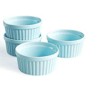 Cinf Blue Porcelain 6 oz. Ramekins Baking Cup Bowls Dishes, Set of 4,Souffle Cups Dishes, Creme Brulee, Custard Cups,Desserts,Oven,Microwave,Freezer and Dishwasher Safe