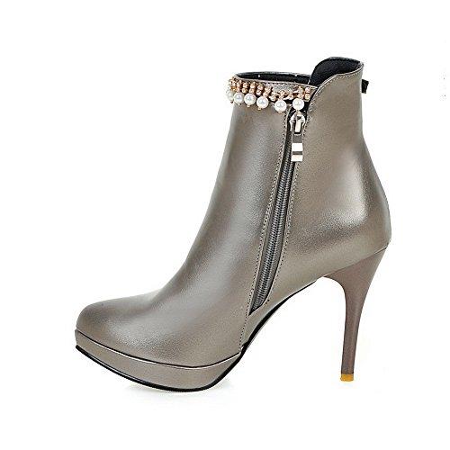 VogueZone009 Damen Reißverschluss Spitz Zehe Hoher Absatz Stiefel mit Perlenschnur Silber