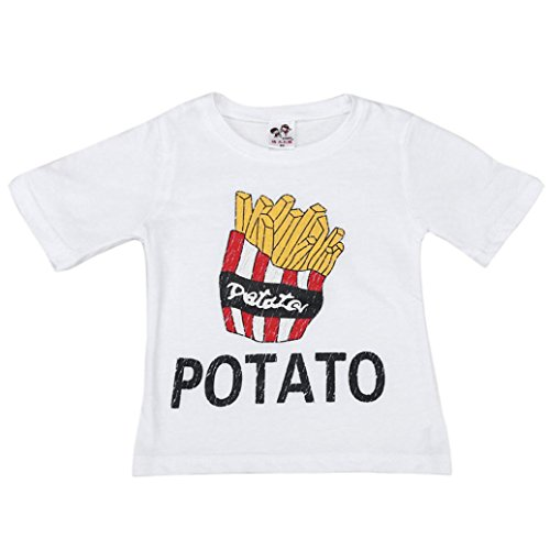 BUBASON Funny Cartoon Children Boy Kids French Fries Pattern Short Sleeve Tops T-Shirt Tees (110, White) (French Fry Costume Kids)
