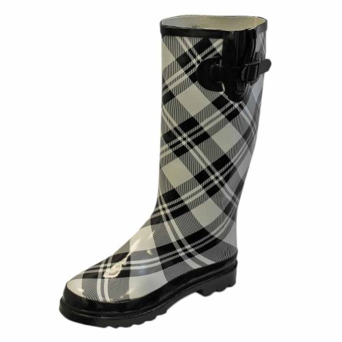 White & Black Plaid Womens Rubber Rain Boots Size 7