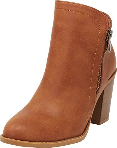 Cambridge Select Women's Closed Toe Western Side Zip Chunky Stacked Block Heel Ankle Bootie,8.5 B(M) US,Tan Pu by Cambridge Select