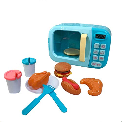 Chrisoty Microwave Kitchen Play Set for Kids with Pretend Fake Food - Toy Great for Toddlers 3 and Older Grils and Boys - Play Microwave