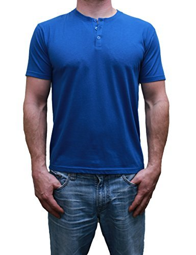 Henley Mens  Short Sleeve TShirt with 3 Buttons, Solid Classic Blue, Medium