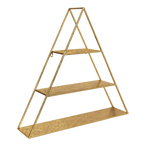 Kate and Laurel Tildan Modern Glam Three Tiered Triangle Floating Metal Wall Shelf, Gold Leaf Finish