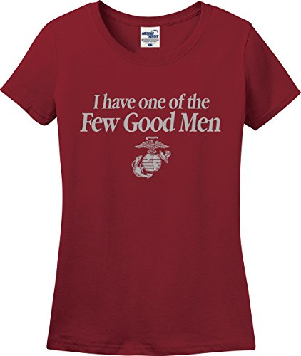 I Have One of The Few Good Men Marine Mom Wife Girlfriend Ladies T-Shirt (S-3X) (Ladies Medium, Cardinal)