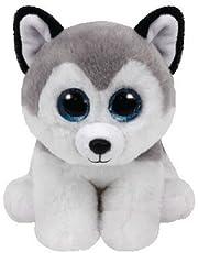 TY Bebé Joven Peluche gris Buff, Husky 15cm