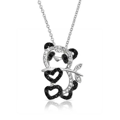 - Bling Jewelry Pave Black White Cubic Zirconia CZ Panda Bear Pendant Necklace for Teen for Women Silver Plated Brass
