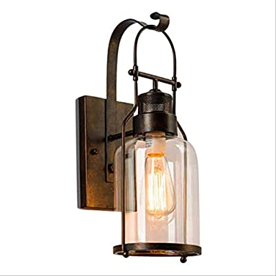DULG American Industrial Vintage Wall Lamp Farmhouse Barn Wall Light Loft Antique Black Metal Fixture Clear Glass Porch Garden Landscape Lights Outdoor Interior Villa Hardwired External Wall Sconce E2