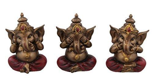 3 Piece Set - Ganesha Hear See Speak No Evil Figurines - Lord Idol Statue Figure