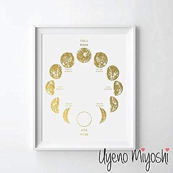 Moon Phase II Gold Foil Art Print Moon Calendar Gold Print Moon Phase Modern Gold Wall Art Decor 08 x 10