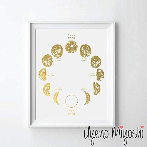 Moon Foil - Moon Phase II Gold Foil Art Print Moon Calendar Gold Print Moon Phase Modern Gold Wall Art Decor 08 x 10