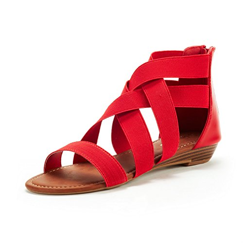 DREAM PAIRS Women's ELASTICA8 Red Elastic Ankle Strap Low Wedges Sandals Size 6.5 M US