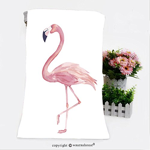 VROSELV Cotton Microfiber Bathroom Bath Towel-watercolor exotic flamingo summer decoration print for wrapping wallpaper fabric card vector Custom pattern of household products(27.6