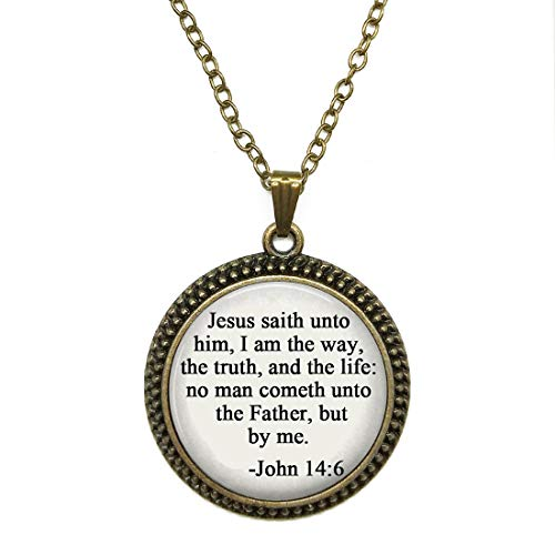 Jesus Saith Unto Him,I Am The Way,The Truth,and The Life:No Man Cometh Unto The Father,But By Me. Time Gem Necklace Alloy Glass Cabochon Bronze Tone Long Chain Pendant Necklace for Women and Girls for $<!--$13.99-->