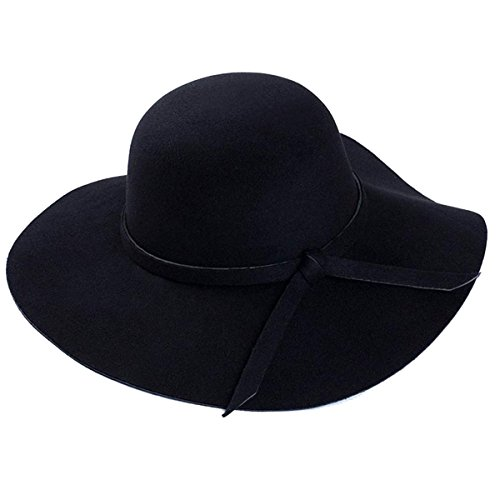 (Argonv Women Vintage Wide Brim Floppy Warm Fashion Felt Hat Trilby Bowler 6 Colors (Black, one Size))