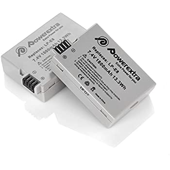 Powerextra 2 Pack 7.4V 1800mAh Li-ion Replacement Canon LP-E8 Battery for Canon EOS Rebel T3i, T2i, T4i, T5i, EOS 600D, 550D, 650D, 700D, Kiss X5, X4, Kiss X6, LC-E8E