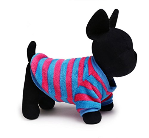 [KeOER Soft Warm Pet Dog Cat Costume Stripe Shirt Pet Coral Fleece Clothes] (Pug Chia Pet Costume)