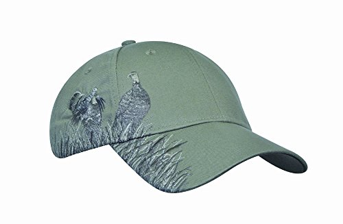 KC Caps Men Hunting Hat Embroidered Baseball Cap Adjustable Back with Velcro Closure,Sage Turkey (Visor Embroidered Bass)