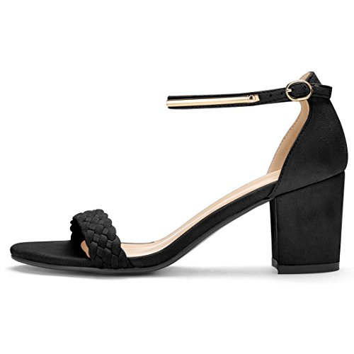 Allegra K Womens Ankle Strap Block Heel Sandals Black-1 wkrXk8SG