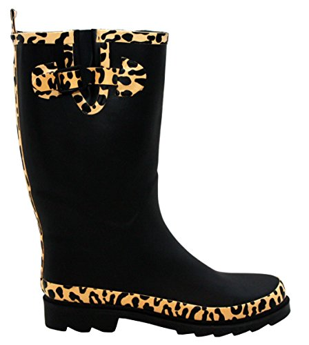 A&H Footwear Ladies Womens New Adjustable Calf Waterproof Rubber Festival Rain Mud Snow Girls Wellington Boots Wellies - Sizes UK 3-8 Black/Leopard HTUvT