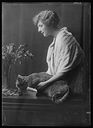 1918 Ladenburg  Miss  With Buzzer The Cat  Portrait Photograph Historic Black