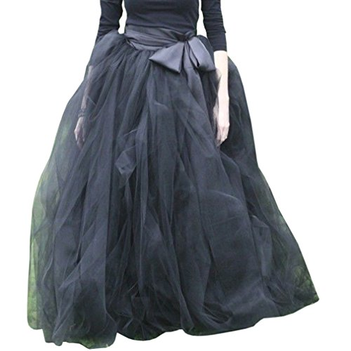 WDPL Women's A-Line Tulle Strips Ruffles Tutu Ball Gown Skirts (Black, Medium)