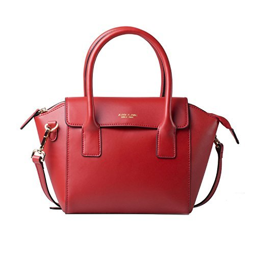 JESSIE&JANE Women's Designer Brand Connie Series Women Top-handle Bags Leather Shoulder Bags Jane Style Red