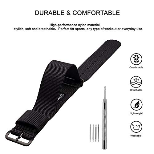 WOCCI Watch Strap 18mm 20mm 22mm 24mm, Nylon Replacement Watch Bands with Black Buckle